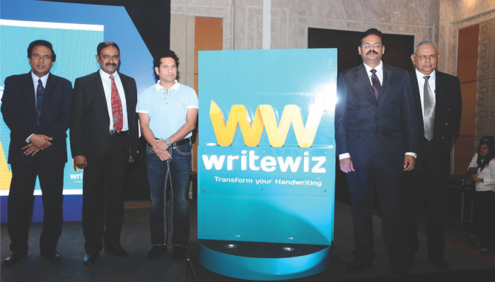 Sachin Tendulkar launching Writewiz logo