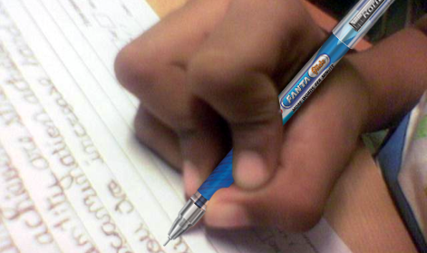 Wrong pencil grasp