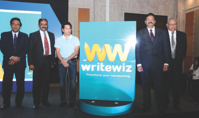 Sachin Tendulkar launches Writewiz Handwriting Books