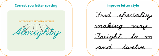 Improve poor handwriting with correct letter spacing and letter style